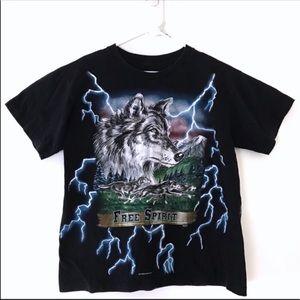 USA Thunder All Over Print Lightning Wolf T-Shirt